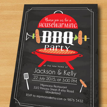 Housewarming Invitation New House BBQ Gathering Par