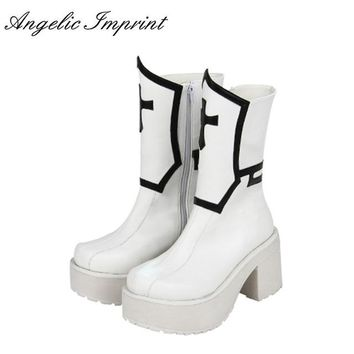 8cm Block Heel Black and White Cross Gothic Punk Lolita Boots Mid-calf Platform Cosplay Boots