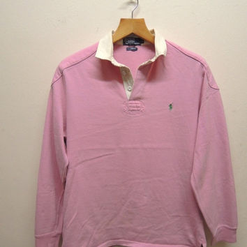 15% CRAZE SALE Vintage 90's Polo Ralph Lauren Rugby Wear Long Sleeve Polos Sport Wear Size LL
