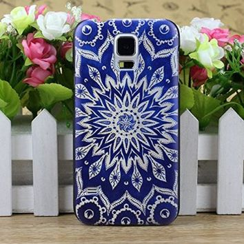Lowpricenice(TM) Stylish Dark Blue Aztec Tribal Pattern Hard Case Cover for Samsung Galaxy S5 i9600 G900