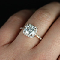 Camila 14kt Rose Gold Thin Moissanite Cushion Halo Engagement Ring (Other metals and stone options available)