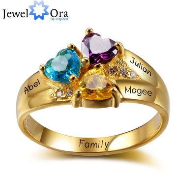 GOLD PLATED PERSONALIZED ENGRAVE BIRTHSTONE JEWELRY HEART STONE NAME RING 925 STERLING SILVER LOVE RING (JEWELORA RI102344)