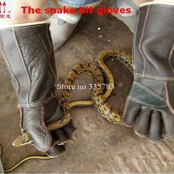 Anti snake arbeitshandschuhe Danger animal dog lizard guantes de trabajo Thickening Leather Anti acupuncture Cuts safety glove