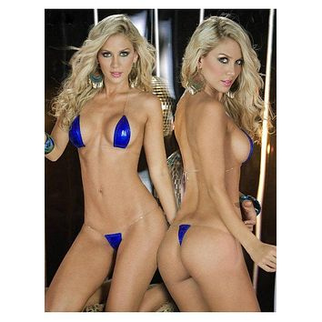 Extreme Dark Blue Metallic Micro Halter Style Top and G-String Thong Bikini Set (Many colors available)