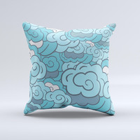 Abstract Blue Vector Seamless Cloud Pattern  Ink-Fuzed Decorative Throw Pillow