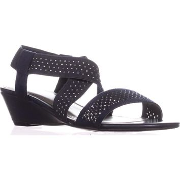 Impo Griselle Strappy Wedge Sandals, Midnight Blue, 8 US
