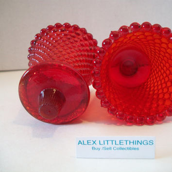 Vintage Red Glass Votive Cup Hobnail Candle Holder Set of Two