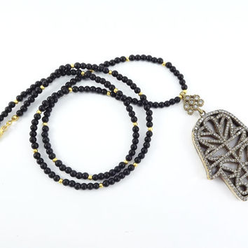 Hamsa Hand of Fatima Rhinestone Necklace Black Onyx Stone Gemstone Statement Gypsy Hippie Bohemian Artisan - One Of A Kind