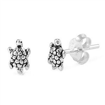Sterling Silver Cute Turtle Stud Earrings