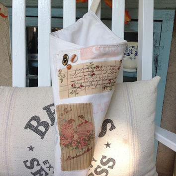 Vintage flour sack cone, cottage decor, rustic farmhouse decor, herb cone