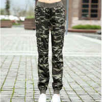 #0909 2016 Summer camouflage pants women Camouflage Cargo pants women Military fashion Casual   Loose Baggy pants