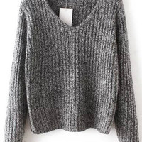 Dark Grey V-Neck Ribbed Sweater