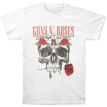 Guns N Roses Men's  Flower Skull Tee Vintage T-shirt White