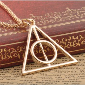 Harry Potter Deathly Hallows Triangle Metal Pendant long Chain Necklace.
