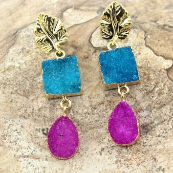 Stylish Pink & Sky Blue Natural Agate Druzy Gold Plated Earring Womens Jewelry