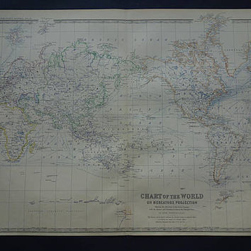 Vintage WORLD MAP Large 1878 original old English worldmap poster of Mercator Projection - vintage maps 47x61c 19x24""