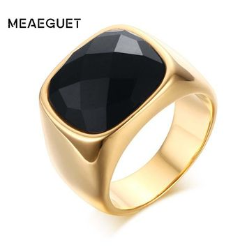 Meaeguet Gent's Jewelry Vintage Rings Gold-Color Stainless Steel Ring Man's Black Onyx Wedding Ring