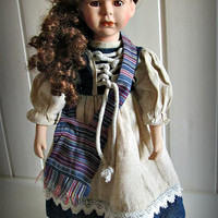 Beautiful vintage doll, Brown Hair, Porcelain, Home Decor