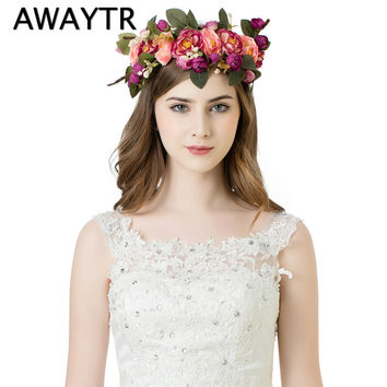 AWAYTR Handmade Woman Girls Artificial Flower Headband Party Wedding Fabric Flower Wreath Hair turquoise Flower Crown