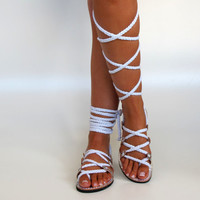NEW Women's Silver Leather Sandals Unique by GreekChicHandmades