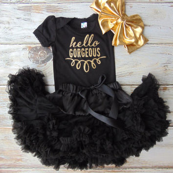Hello Goregous Gold Glitter Bodysuit - Gold Glitter Newborn, Infant, Toddler Shirt - One Piece Only - Ann Marie Avenue - Sparkle Glitter