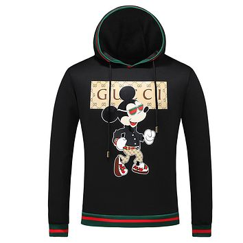 GUCCI x Mickey Mouse co-branded 2018 autumn and winter new slim hooded pullover sweater F-A00FS-GJ Black