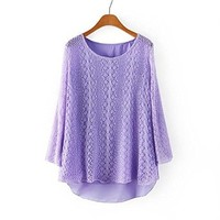 Woman's Hollow Out Round Neck Sweater 080839 Color Purple