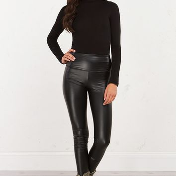 Vegan Leather Leggings in Black