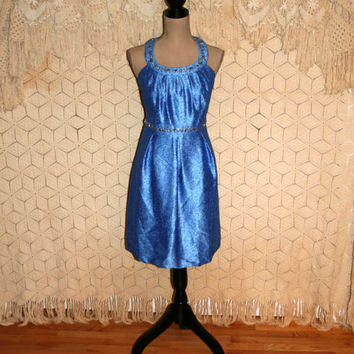 Shimmery Blue Dress Retro Goddess Dress Cocktail Dress Party Dress Beads Rhinestones T Back Short Dress Size 14/16 Large XL Womens Clothing