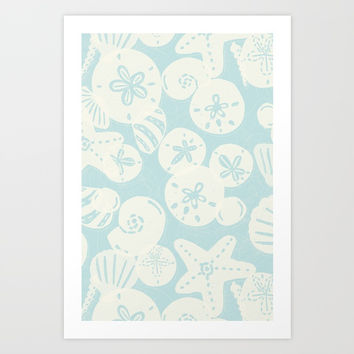 Cream Seashells on Aqua Art Print by Noonday Design