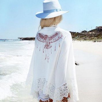 PEAPGC3 New long-sleeved white chiffon blouse Cover ups beach vacation sunscreen clothing cardigan cape