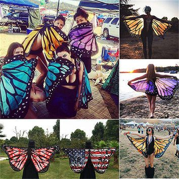 Colorful Soft Fabric  Wings Fairy Ladies Nymph Pixie Costume Accessory Womoen Beach Scarves Wraps