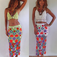 Multi Colored Flora Crochet Skirt