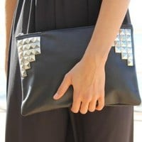 Faux Leather Black Clutch with Silver Stud Embellishment