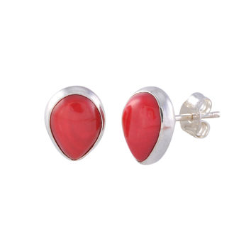Sterling Silver Red Coral Gemstone Earrings Pear Shaped 9mm x 7mm
