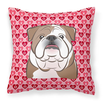 English Bulldog  Hearts Fabric Decorative Pillow BB5289PW1818