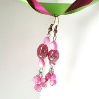 Pink Earrings, Rose Earrings, Czech Glass