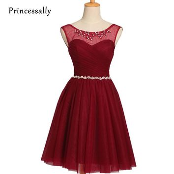 Robe De Soriee Burgundy Bridesmaid Dress Knee Length Sequined Beading Sleeveless Short Prom Party Gown Cheap Bridesmaid Dress