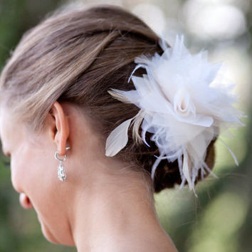 White Ivory Champagne Blush Bridal Head Piece Ivory Fascinator Wedding Hair Flower Bridal Flower - MOLLY - featured in Style Me Pretty