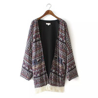 Tribal Print Frigned Long-Sleeve Kimono