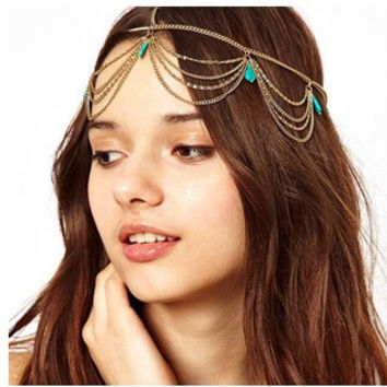 New Beach Multi Layer Metal Gold Plated Turquoise pendant Head Chain Hair Jewelry Tassel Headband (Color: Gold) = 1668825604