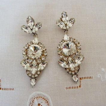 Vintage Dangle Earrings 1940s Rhinestone White Clear Ice