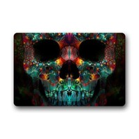 Colorful Abstract Fractal Skull Door Mat Indoor/Outdoor/Bathroom Doormat Rugs for Home/Office/Bedroom