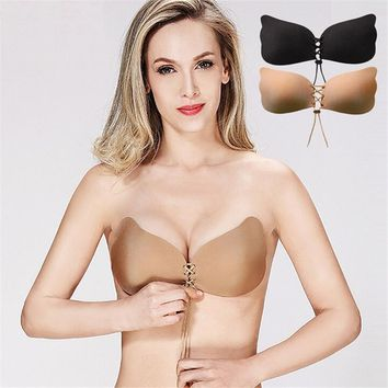 Lace up breast petals Spandex bare lift bra reusable women intimates accessories Strapless sexy black invisible bra cup ABCD