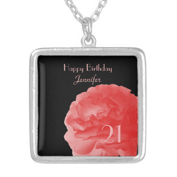 Personalized Necklace Coral Rose 21st Birthday