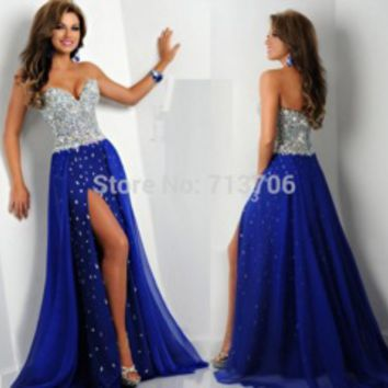 New Arrival 2015 Free Shipping Blue Chiffon A line Handmade Beaded Crystal High Slit Long Sexy Prom Dresses