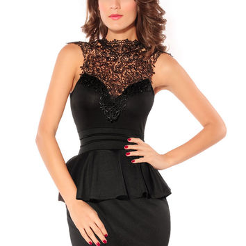 Sleeveless Backless Lace Applique  Bodycon Peplum Mini Dress