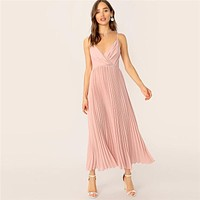 Surplice Neck Pleated Cami Dress Fit And Flare Dress Pink Pastel Romantic Women Sleeveless Spaghetti Strap Dresses
