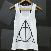 Sale Deathly Hallows ,Harry Potter Tank Top, triangle tattoo WHITE movie Women teen girls tshirt size S,L singlet tshirt ladies blouse