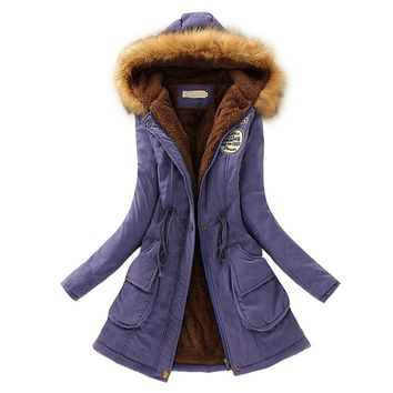 New arrival women's winter warm clothing faux fur hooded cotton-padded parka long jacket fleece lined coat